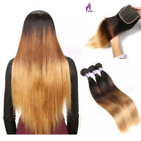 Real straight human hairs Ombre Brazilian Hair Weave Bundle T1B/4/27 4*4 closure