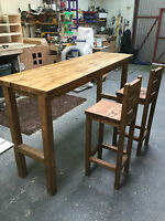 Hand made breakfast bar and 2 stools to match.