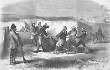 UKRAINE. Camp; Shoeing a refractory mule, antique print, 1856