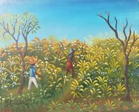 Original & Signed Maurice Guerre - Workers in the Field - Haitian Art Painting