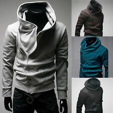 uomo zip collo alto Felpa Sport Casual con cappuccio maglione maglia cappotti