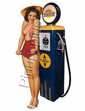 Hillbilly Gas pump Pinup Girl Waterslide Decal Sticker For Guitars and More S447