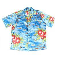 Vintage Silky Hawaiian Shirt   Men's L   Button Retro Aloha Pattern Graphic