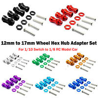 4PCS/Set 12mm to 17mm Wheel Hex Hub Adapter For 1/10 Switch to 1/8 RC Model Car