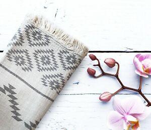 100% Cotton Aztec Throw Blanket, Turkish Peshtemal Bath and Beach Towel GRAY