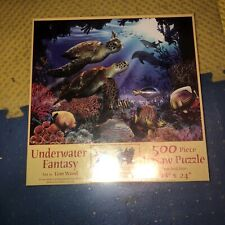 """Underwater Fantasy 500 piece puzzle Tom Wood SunsOut 18"""" x 24 Newsea turtles"""