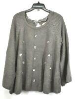 Lauren Conrad Women Gray Scoop Neck Long Sleeve Sequin Embellish Knit Sweater XL