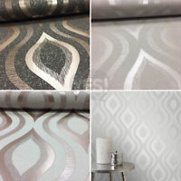 Retro Print Geometric Wallpaper Metallic Glitter Quartz Fine Decor 3 Colours