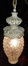 Vintage Mid-Century Modern  Glass Hanging Swag Lamp / Light  60s  RETRO