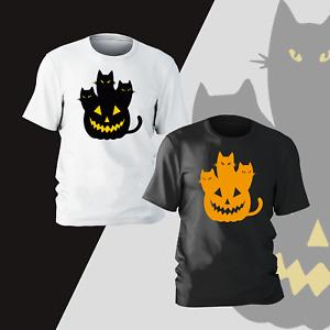 Halloween Day Pumpkin Cat T-Shirt Horror Funny Present Gift Kids Unisex Mens