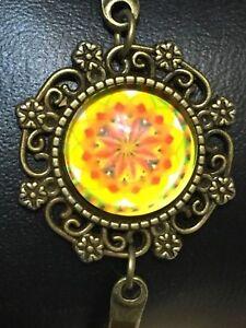 Tibetan Mandala Bronze Bracelet. Adjustable Lobster Clasp. Spiritual Centerpiece