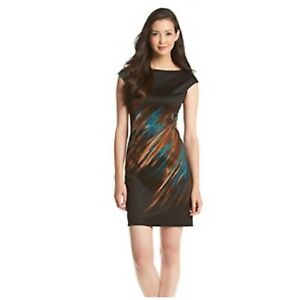 NWT London Times Women's Brushed Feathered Print Sheath Dress Size 12