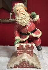 Midwest Importers Cannon Falls Fabric Mache Christmas Santa & Chimney 11� Figure