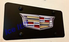 Cadillac Crest Stainless Steel Black License Plate Frame Heavy Duty W/ Caps