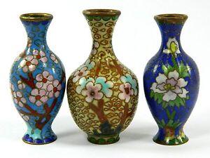 Vintage Cloisonne Copper Enamel Minature Vase,Floral Design,Chinese Handicraft