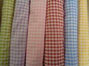 """GINGHAM POLY/COTTON BY THE METRE 58""""WIDE (147 CM) ASSORTED COLOURS ! BARGAIN !!"""