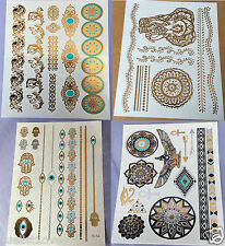 hot 4 sheets Temporary Metallic Tattoo Gold Silver Black blue Flash Inspired