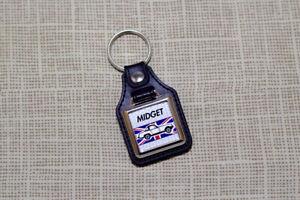 MG Midget Keyring - Leatherette and Chrome Keytag