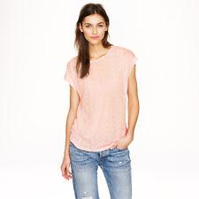 J.CREW Silk Eyelet-front Linen T-shirt Pink S