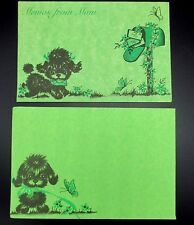 Vtg Puppy Dog Note Cards Envelopes Memos From Mom Green Set of 10 Flowers Bird