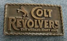 COLT REVOLVERS GUN THE WORLDS RIGHT ARM VINTAGE SMALL BELT BUCKLE 1 INCH BELT