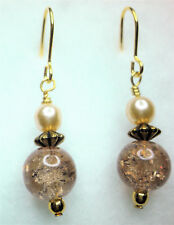 Gold tone copper coloured glass and glass pearl drop earrings on  Approx. 4cm