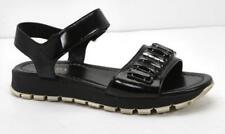PRADA Womens Black Patent-Leather Crystal Platform Ankle-Strap Sandals 10-40