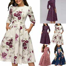 Women Retro Tunic 3/4 Long Sleeved Floral Print Bodycon Dresses Vintage Dress