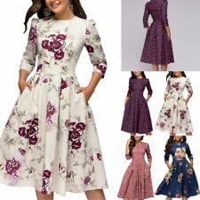 Женский ретро туника 3/4 с длинными рукавами с цветочным принтом в обтяжку платья винтаж платье