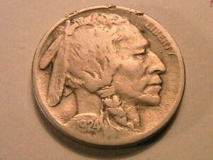 1924-P Buffalo Nickel Nice F+ Fine+ Full Date Original Grey Indian Head 5C Coin