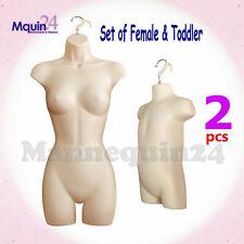 Flesh Female & Toddler Torso Mannequin Set - Women & Kids Dress Forms