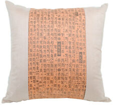 NEW Cushion Pillow Asian Writing Oriental Design Faux Suede Orange Sofa Home Dec