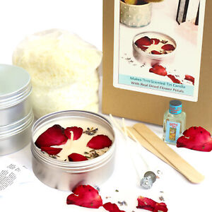SCENTED TIN CANDLE MAKING KIT Makes 3 with Dried Petals Flowers Eco Soy Wax KVH