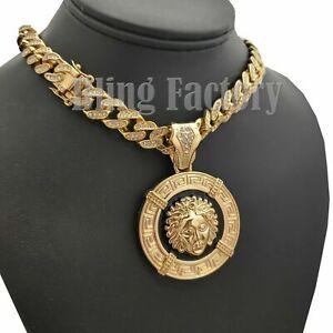 "Hip Hop Medusa Medal Pendant & 12mm 16"" 18"" 20"" Full Iced Cuban Chain Necklace"