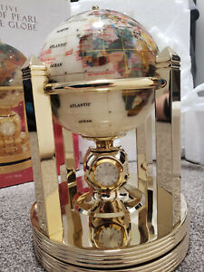Executive Mother of Pearl Gemstone Globe NEW opened box with thermometer/clocks
