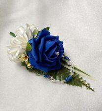 Wedding flower buttonhole Royal Blue rose & ivory....PIN ON
