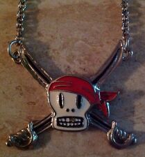 NEW Paul Frank SKURVY Skull Crossbones Pirate Sword Silver Enamel Chain Necklace