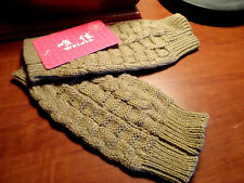 Nwt Thumb Hole Fingerless GLOVES Mittens Mitts Khaki Beige Cable knit Fashion