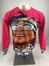 WIZ KHALIFA Hip Hop Tattoo Rapper Bright FIRE! RARE Crewneck Sweatshirt XL Pink
