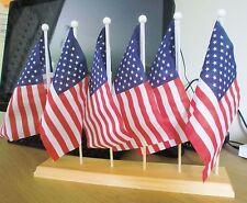 USA 6 FLAG SET with six hole wooden base flags UNITED STATES OF AMERICA U.S.
