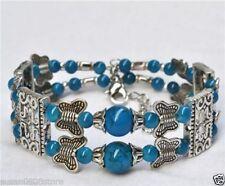 Hot Tibetan silver bracelet jewelry fashion handmade crafts bangle beads blue