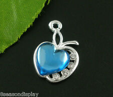 "10 Silver Plated Blue Rhinestone ""Apple of my Heart"" Charm Pendants 20x13mm"