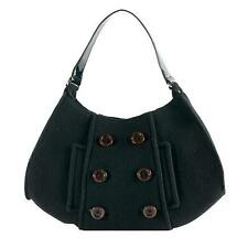KATE SPADE CADEE BEANTOWN Peacoat FELTED BUTTON Wool BLACK PATENT Leather Hobo