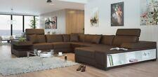 "Ecksofa U Form Sofa Couch Polster Ecksofa Wohnlandschaft Ledersofa Badra ""Braun"""