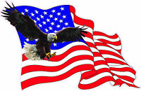 "American Flag Stars & Stripes Soaring Eagle X Large Decal 24"" Free Shipping"