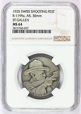 1925 Switzerland St. Gallen Swiss Shooting Fest Silver Medal R-1199a - NGC MS 64