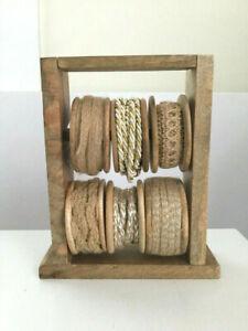 Vintage Farmhouse Wooden Ribbon Holder w Wooden Ribbon Spools Spinner