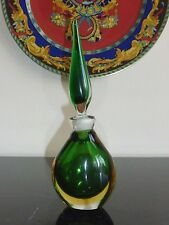 "Gorgeous Art Glass Empty Perfume Bottle Green and Amber Studio Glass 8.5"" Tall"