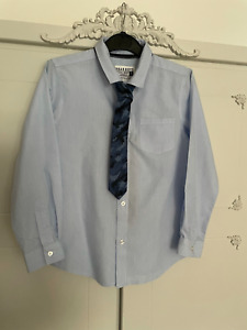 BOYS BLUE SHIRT AND TIE SET SMART XMAS OUTFIT STRIPE  BOYS 9 YEARS BUTTON FASTEN