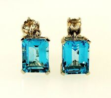 9Ct White Gold Blue Topaz (4.1tcw) & Simulated Diamond Drop Stud Earrings 7x9mm